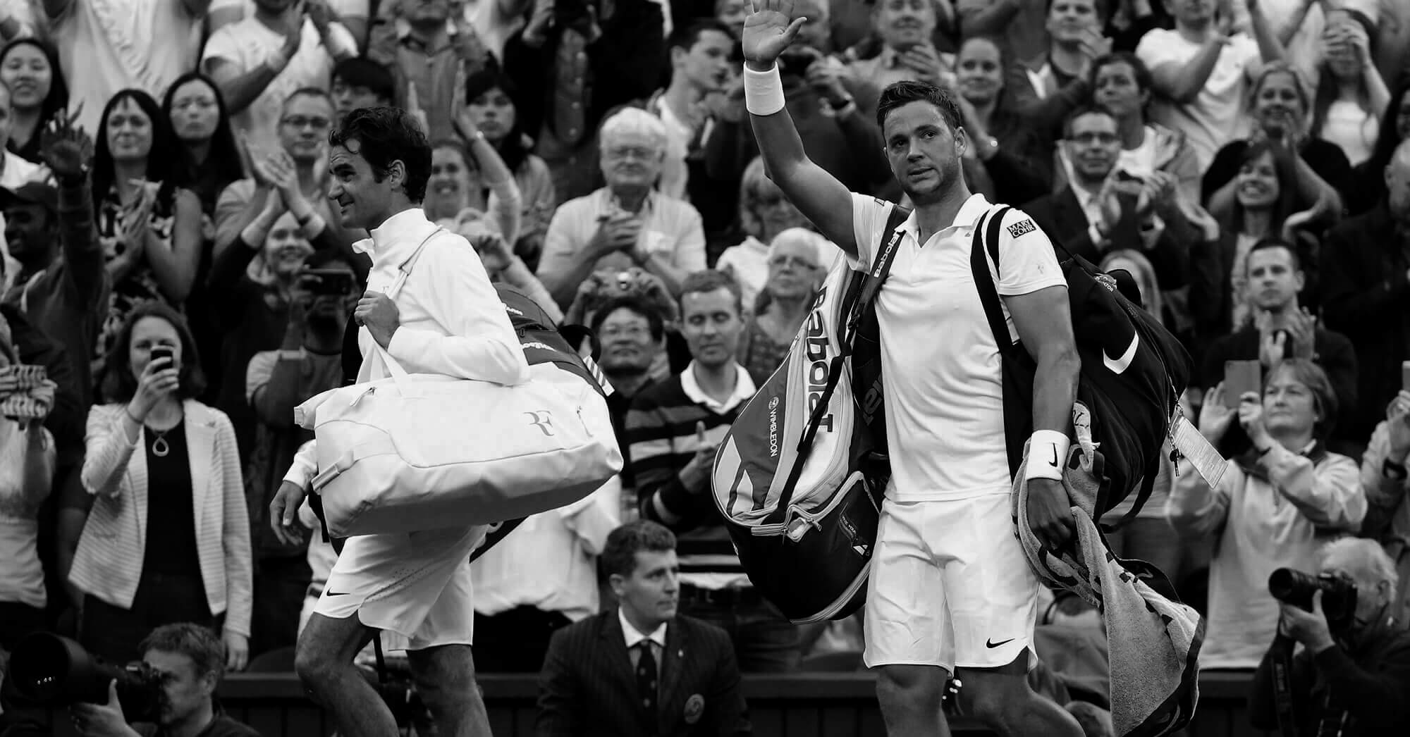 Roger Federer and Marcus Willis Wimbledon 2016